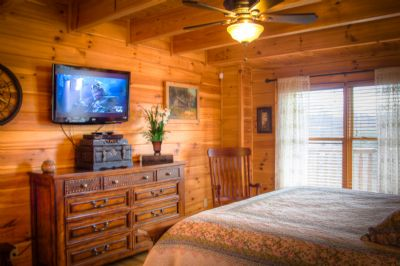 King master suite on upper level with personal deck