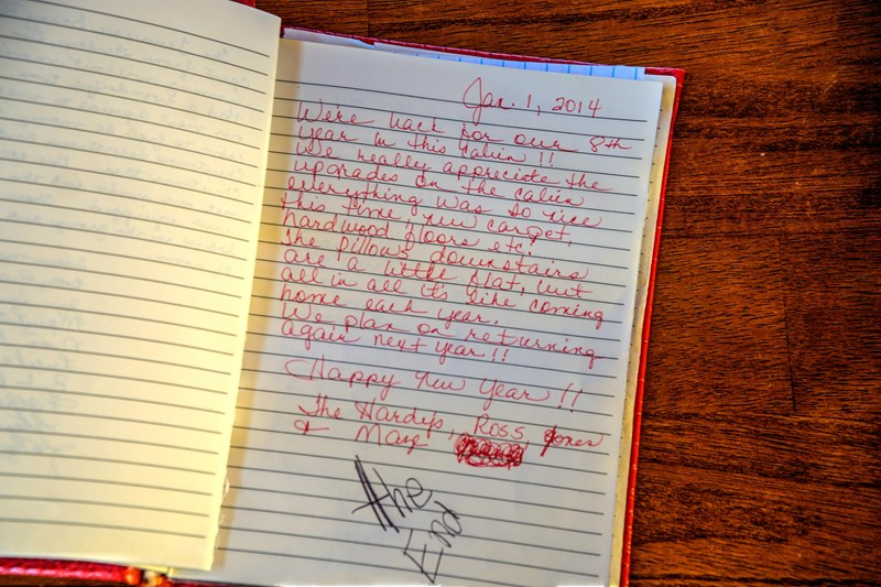 Our guest book is loaded with cabin praises