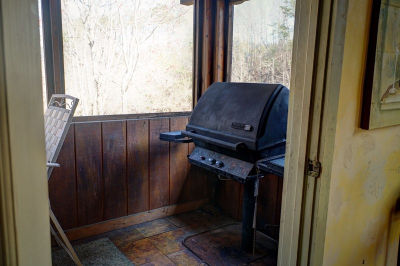 Gas grill just off the kitchen for easy access