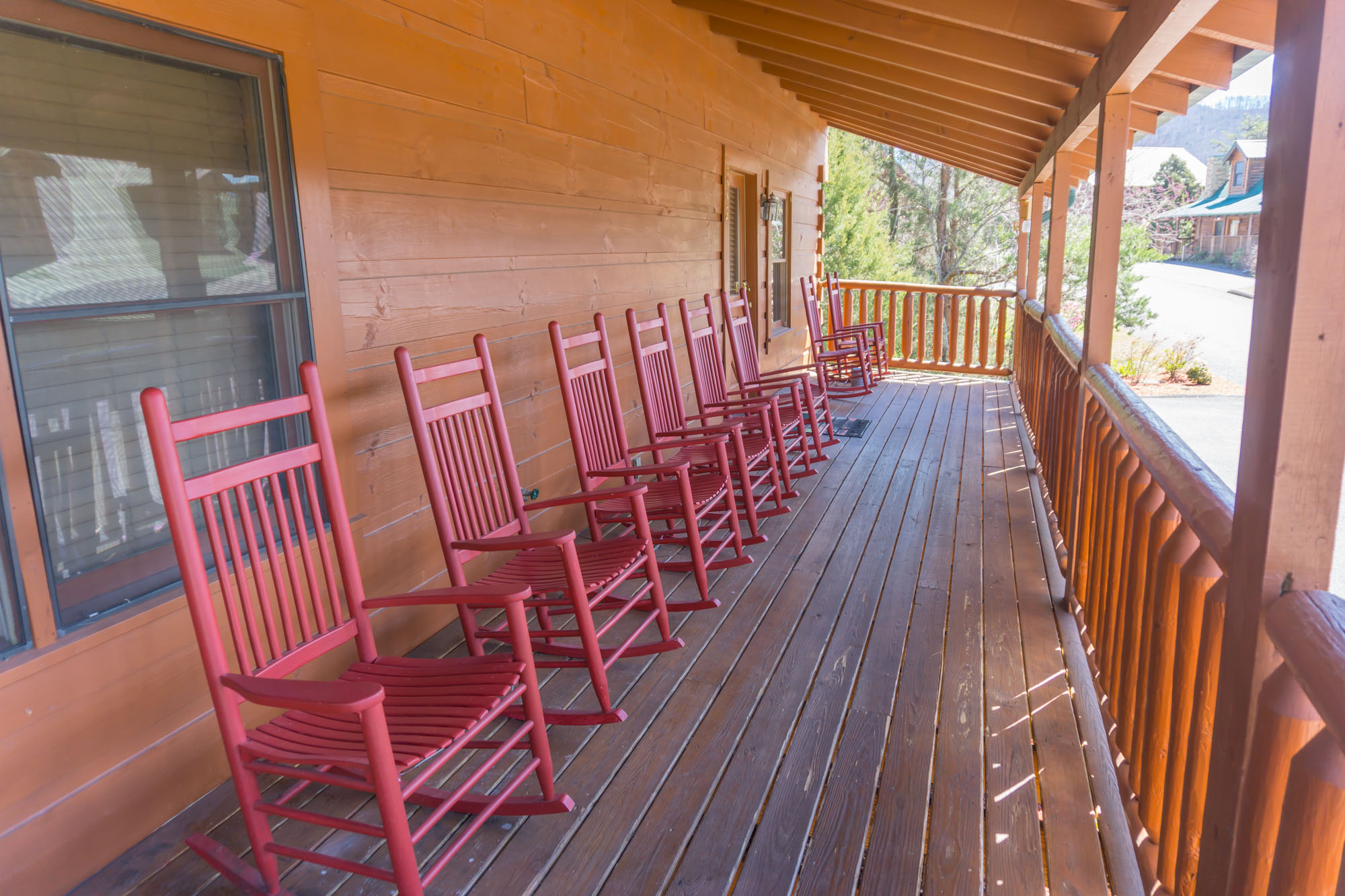 Plenty of rocking chairs on the front porch