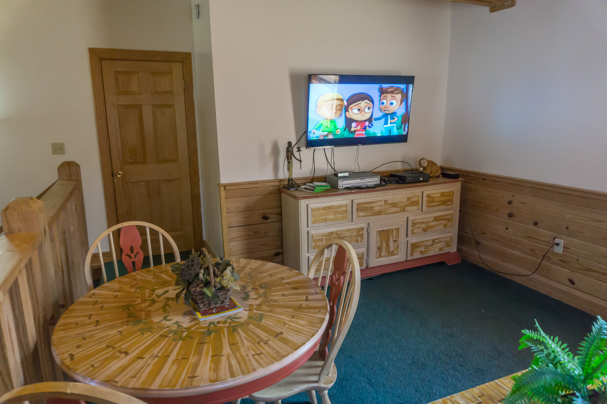 TV and table in loft